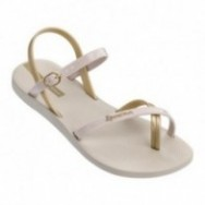 FASHION SAND VII beige and gold flat finger sandals for woman