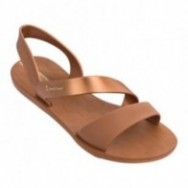VIBE beige and bronze flat roman sandals for woman