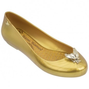 SPACE LOVE V vivienne westwood gold fantasy print flat closed ballet flats for woman