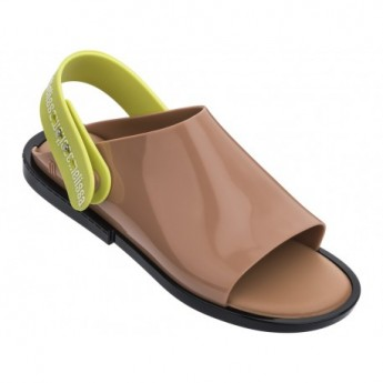 TWIST black and brown flat open sandals for woman