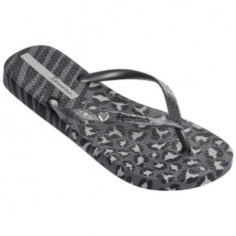 ANIMAL PRINT II grey and silver animal print flat finger flip flops for woman