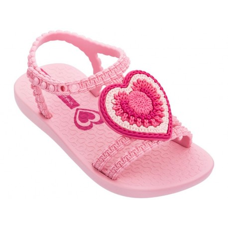 V pink flat roman sandals for baby