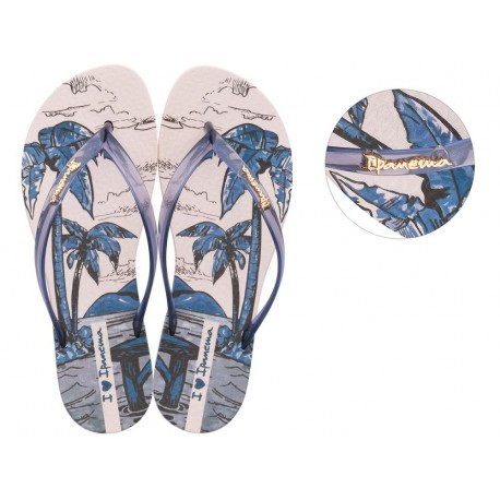 WAVE NATURAL chanclas de dedo planas de mujer con estampado tropical beige