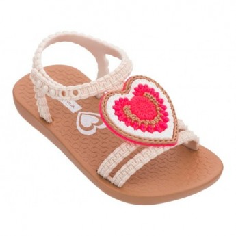 V brown and red flat open sandals for baby