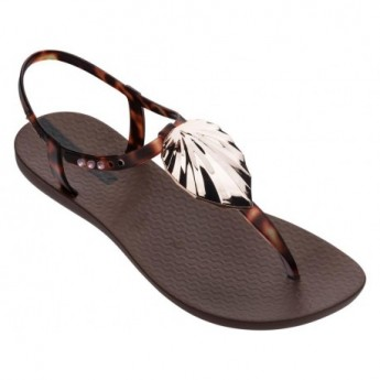 LEAF brown flat finger sandals for woman