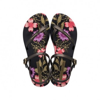 FASHION SAND VIII black floral print flat finger sandals for woman