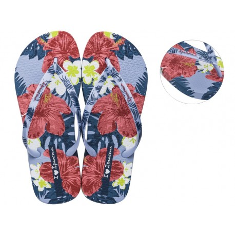 I LOVE SUN blue floral print flat finger sandals for woman