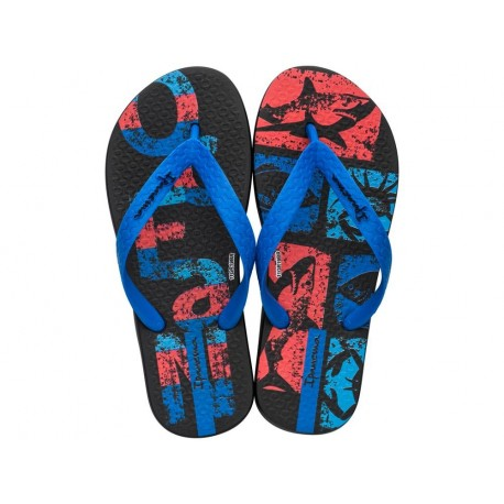 TEMAS XIII black and blue fantasy print flat finger flip flops for child