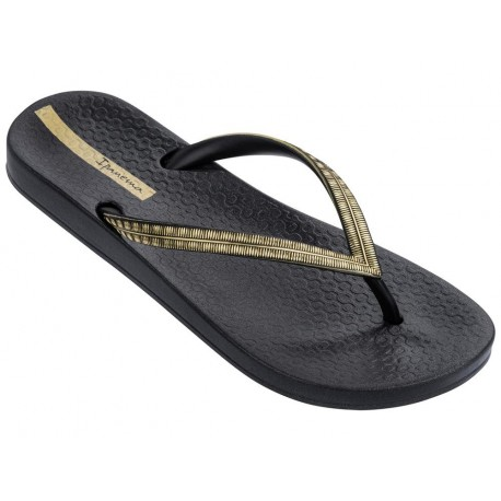 MESH IV black flat finger flip flops for woman