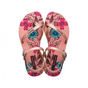 FASHION SD VII pink floral print flat open sandals for girl