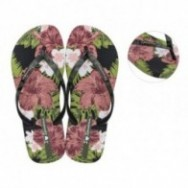 I LOVE SUN black and green floral print flat finger flip flops for woman