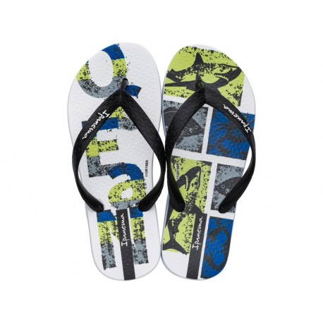 TEMAS XIII black and green urban print flat finger flip flops for child