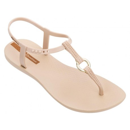 CHARM VII cristina pedroche beige and gold flat finger sandals for woman