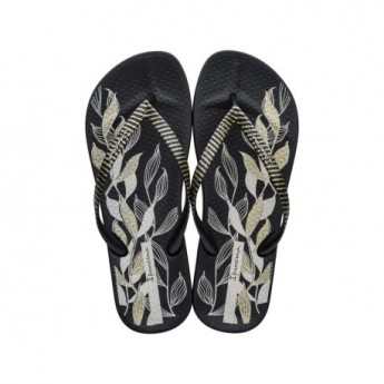 ANAT NATURE IV black floral print flat finger flip flops for woman