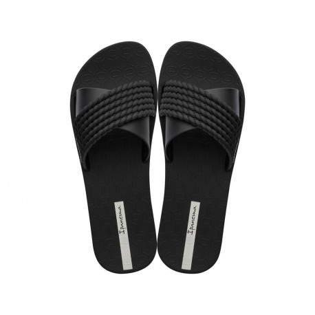 STREET black flat shovel flip flops for woman