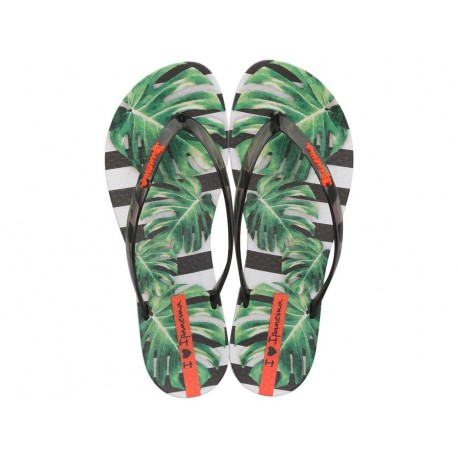 WAVE NATURAL multicolored tropical print flat finger flip flops for woman