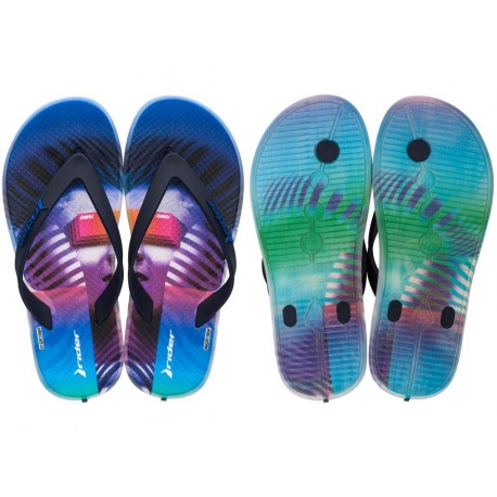 R1 PLAY KIDS multicolored urban print flat finger sandals for child