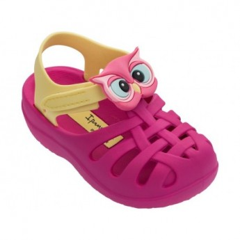 SUMMER VI pink and yellow flat crab sandals for baby