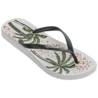 ANAT TEMAS IX beige and green tropical print flat finger sandals for woman