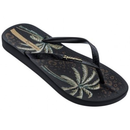 ANAT TEMAS IX black tropical print flat finger flip flops for woman