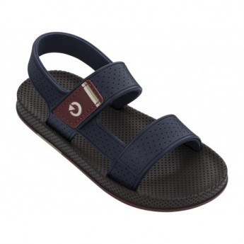 SIENA blue and brown flat open sandals for man