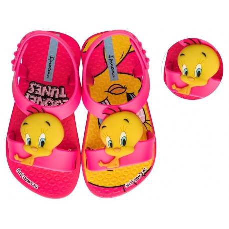 IPANEMA LOONEY TUNES pink fantasy print flat roman sandals for baby