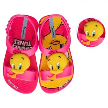 IPANEMA LOONEY TUNES pink fantasy print flat open sandals for baby