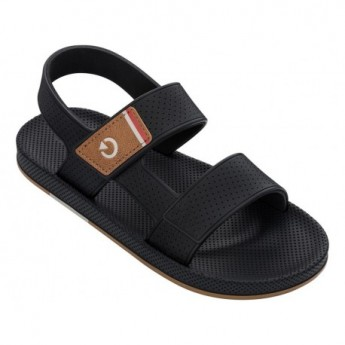SIENA black flat shovel sandals for man