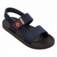 SIENA blue and brown flat shovel sandals for man
