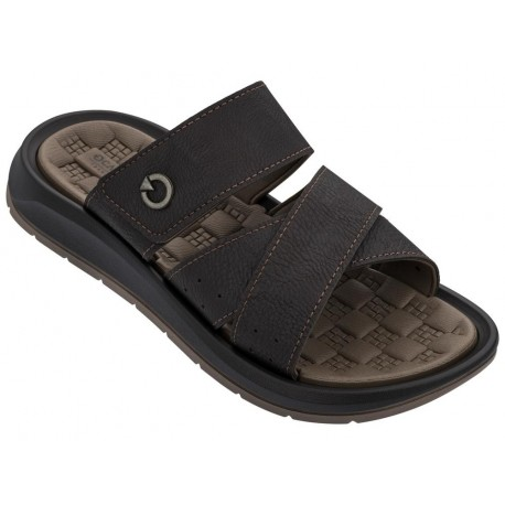 SANTORINI V brown flat open sandals for man