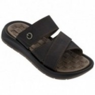 SANTORINI V brown flat shovel sandals for man