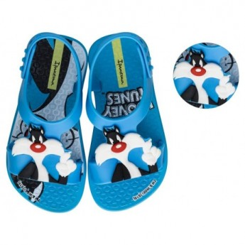 IPANEMA LOONEY TUNES blue flat roman sandals for baby