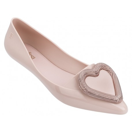 POINTY HEART pink flat closed ballet flats for woman