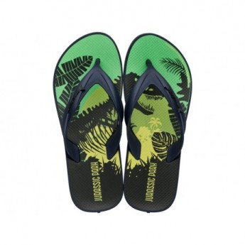 RIDER BLOCKBUSTER universal blue and green fantasy print flat finger flip flops for child