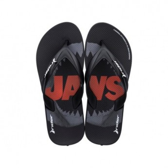 RIDER BLOCKBUSTER universal black and red flat flip flops for child