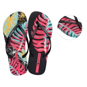 ACQUA black tropical print flat finger flip flops for woman