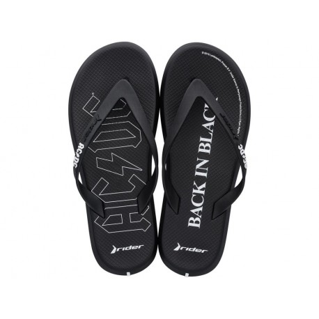 RIDER ACDC black flat finger flip flops for man
