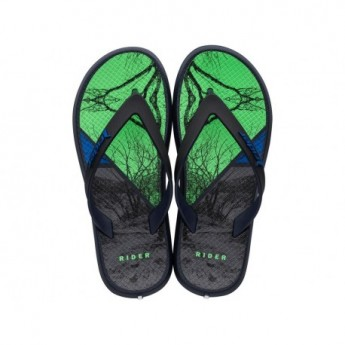 ENERGY VII blue and green urban print flat finger flip flops for child