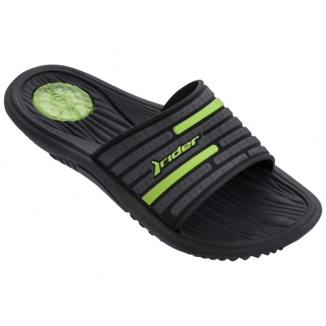 MONTANA IX black and green flat shovel flip flops for man