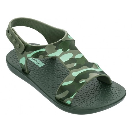 DREAMS II green bicolor print flat crab sandals for baby