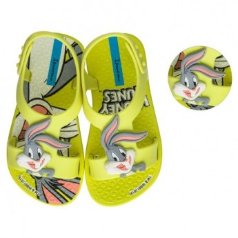 IPANEMA LOONEY TUNES grey and yellow fantasy print flat open sandals for baby