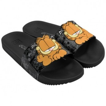 GARFIELD black and orange flat shovel flip flops for woman