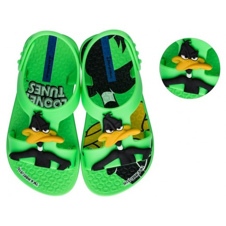 IPANEMA LOONEY TUNES black and green flat crab sandals for baby
