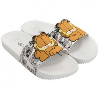 GARFIELD orange and white flat open flip flops for woman