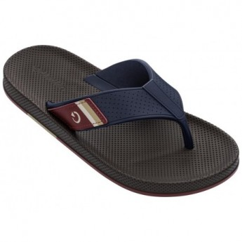SIENA blue and brown flat finger flip flops for man