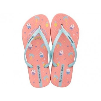 + MR WONDERFUL pink fantasy print flat finger flip flops for woman