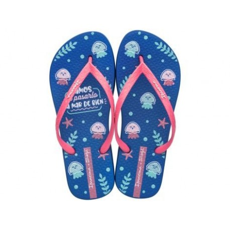 + MR WONDERFUL blue and pink flat finger flip flops for woman