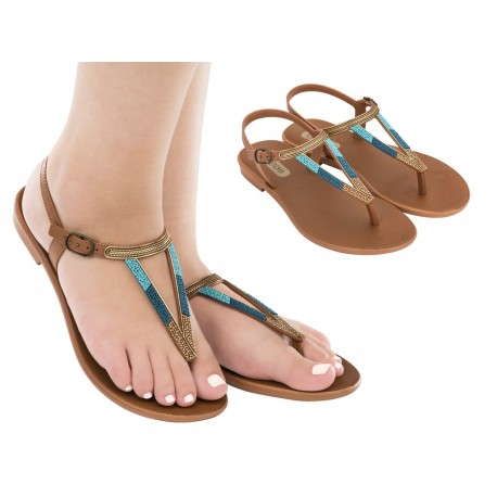 CACAU RUSTIC brown flat finger sandals for woman