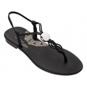 CACAU MAIS ROSA black flat finger sandals for woman