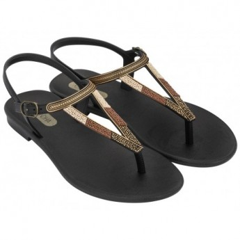 CACAU RUSTIC black flat finger sandals for woman